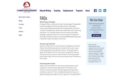 Screenshot of FAQ Page chescareer.com - FAQs of Résumé Writing, Career Coaching, Outplacement   Chesapeake Career Management Services - captured Nov. 5, 2016