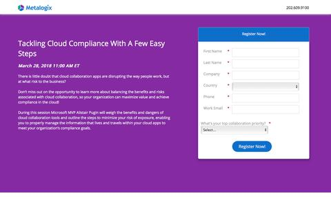Screenshot of Landing Page metalogix.com - Tackling Cloud Compliance With A Few Easy Steps - captured March 29, 2018