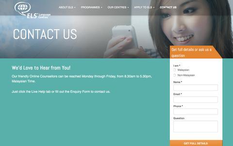 Screenshot of Contact Page els.edu.my - Contact Us | ELS Language Centres, Malaysia - captured Oct. 15, 2016