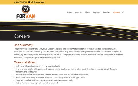 Screenshot of Jobs Page forvan.com - Careers at Forvan Technologies Inc. - Woodstock, Ontario, Canada - captured Nov. 25, 2016
