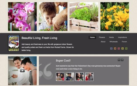 Screenshot of Home Page rocketfarms.com - Indoor Plants Flowers Herbs Grower - Rocket Farms - captured April 26, 2016