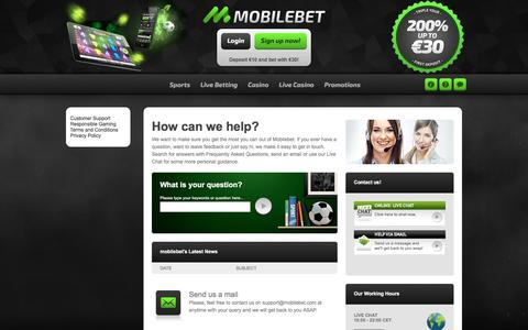 Screenshot of Support Page mobilbet.com - Mobilebet | Support - captured Feb. 1, 2017