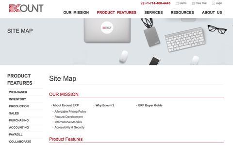 Screenshot of Site Map Page ecounterp.com - Ecount ERP - Site Map - captured June 20, 2017