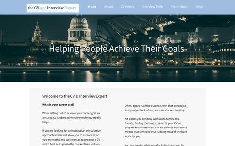 Screenshot of Home Page thecvandinterviewexpert.co.uk - CV Advice & Interview Training - captured Oct. 18, 2018