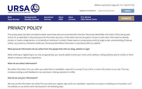 Screenshot of Privacy Page ursa-rehab.com - Privacy Policy – Universal Rehabilitation Service Agency (URSA) - captured Oct. 19, 2017