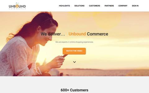 Screenshot of Home Page unboundcommerce.com - Unbound Commerce - Mobile App and Website Solutions for eCommerceUnbound Commerce - captured Nov. 6, 2016