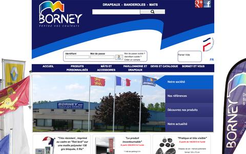 Screenshot of Home Page borney.fr - Borney :fabricant de drapeaux, pavillons et banderoles - captured Oct. 4, 2014