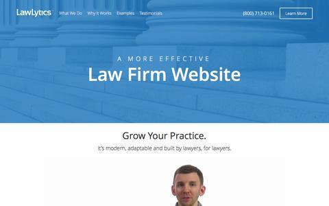 Screenshot of Home Page lawlytics.com - Law Firm Website Design   LawLytics Attorney Marketing Suite - captured Sept. 29, 2014