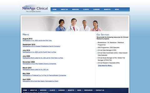 Screenshot of Press Page newageclinical.com - Clinical staffing agencies, staffing services NJ, temp pharma staffing - captured Oct. 26, 2014