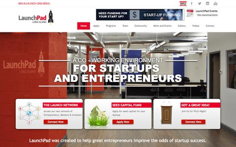 Screenshot of Home Page launchpadli.com - LaunchPad Long Island   Where ideas take flight - captured July 27, 2015