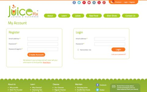 Screenshot of Login Page juicerxcleanse.com - My Account - JuiceRX - Organic Fresh-pressed Juices & Cleanses - captured Nov. 3, 2014