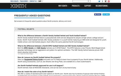 Screenshot of FAQ Page xenith.com - Frequently Asked Questions | Xenith FAQs - captured July 3, 2015