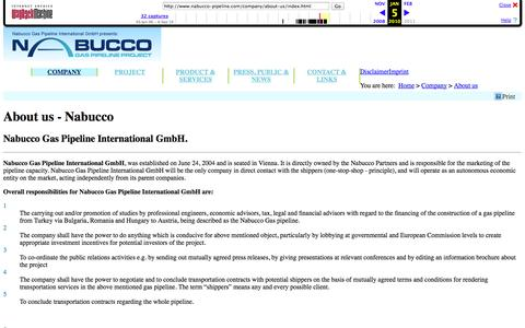 Screenshot of About Page archive.org - About us :: nabucco GAS PIPELINE PROJEKT - captured Oct. 27, 2014