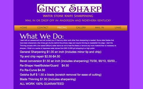 Screenshot of Pricing Page cincinnatiknifesharpening.com - Pricing - captured Oct. 2, 2014