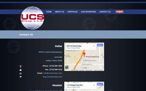 Screenshot of Contact Page Locations Page universaltx.com - UCS Group, L.L.C. - captured Oct. 23, 2014