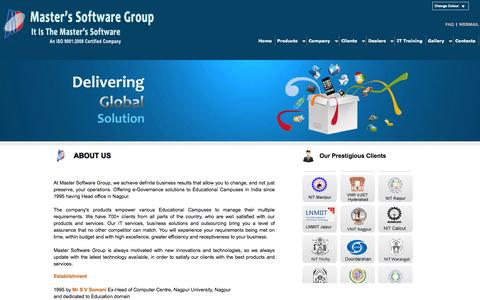 Screenshot of About Page Products Page iitms.co.in - Master's Software Group - captured Oct. 27, 2014