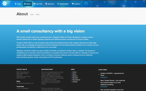 Screenshot of About Page sksconsulting.co.uk - SKS Consulting | About - SKS Consulting - captured Oct. 3, 2014