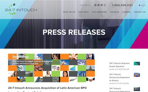 Screenshot of Blog 24-7intouch.com - 24-7 Intouch Announces Acquisition of Latin American BPO Innovative Contact Solutions - captured Feb. 20, 2020