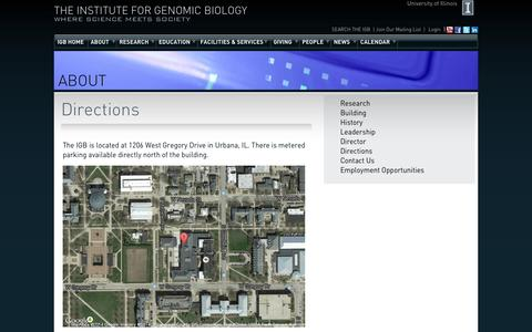 Screenshot of Maps & Directions Page illinois.edu - Directions | The Institute for Genomic Biology - captured Sept. 13, 2014