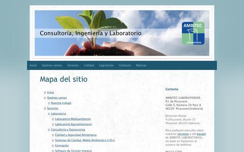 Screenshot of Site Map Page ambiteclaboratorios.com - AMBITEC LABORATORIOS: Laboratorio, Consultoría e Ingenería Medioambiental y Agroalimentaria - captured Oct. 4, 2014