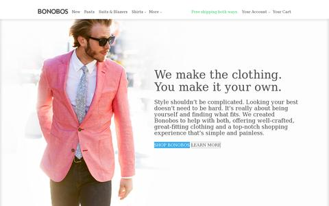 Screenshot of About Page bonobos.com - Bonobos Men's Clothes - Pants, Shirts and Suits - captured July 20, 2014