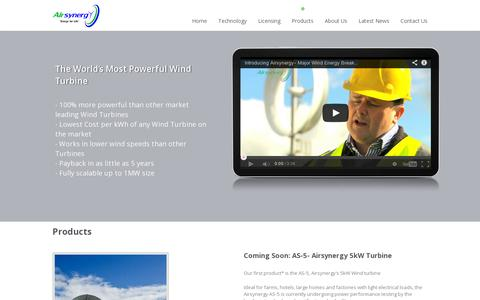 Screenshot of Products Page airsynergy.ie - Products | Air Synergy - captured July 20, 2014
