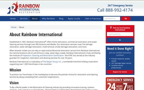 Screenshot of About Page rainbowintl.com - About Our Company | Rainbow International - captured March 24, 2017