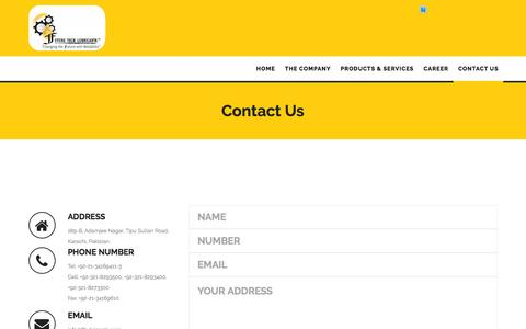 Screenshot of Contact Page ftlubricants.com - Contact us | FTLUBRICANTS - captured Feb. 10, 2016