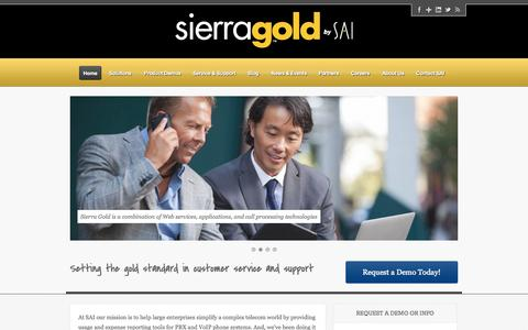 Screenshot of Home Page call-accounting-management-software.com - Call Accounting Management Software | Sierra Gold by SAI - captured Oct. 24, 2014