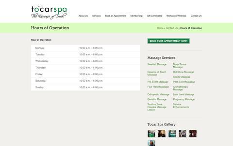 Screenshot of Hours Page tocarspa.com - Hours of Operation   Tocar Spa - captured Sept. 30, 2014
