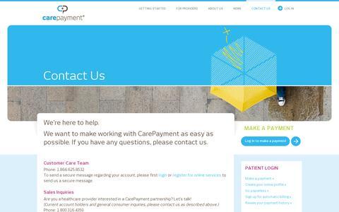 Screenshot of Contact Page carepayment.com - Contact Us - CarePayment - captured July 19, 2014