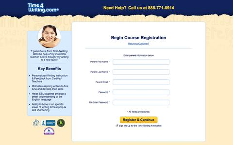 Screenshot of Signup Page time4writing.com - Time4Writing Signup - captured Oct. 28, 2014