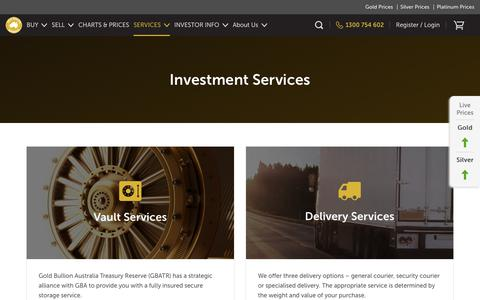 Screenshot of Services Page goldbullionaustralia.com.au - Gold & Silver Bullion Investment - Gold Bullion Australia - captured July 21, 2018