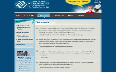Screenshot of Testimonials Page bandgclub.org - Testimonials   Boys & Girls Club of Burlington, VT - captured June 17, 2016