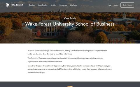 Screenshot of Case Studies Page kiratalent.com - Case Study | Wake Forest University School of Business - captured Dec. 5, 2017