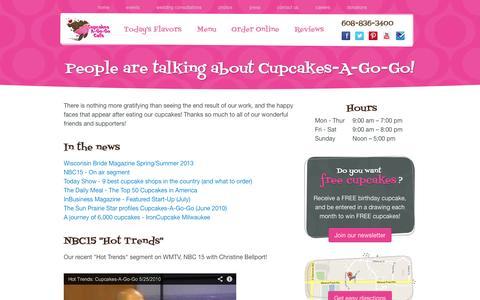 Screenshot of Press Page cupcakesagogo.com - Press -  Cupcakes-A-Go-Go - Madison, WI - captured Oct. 3, 2014