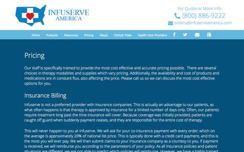 Screenshot of Pricing Page infuserveamerica.com - Pricing | Infuserve America - captured Aug. 6, 2016