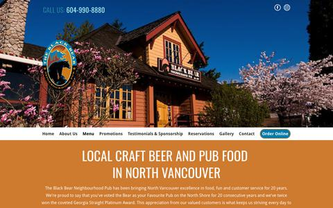 Screenshot of Menu Page blackbearpub.com - Craft beer | North Vancouver, BC | The Black Bear Neighbourhood Pub - captured Oct. 6, 2018