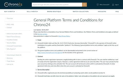 Screenshot of Terms Page chrono24.com - Chrono24 - Info - Terms & Conditions - captured July 5, 2019