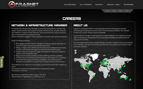 Screenshot of Jobs Page fragnet.net - Fragnet - Jobs - FragNet | Built for Gamers. - captured Dec. 20, 2015