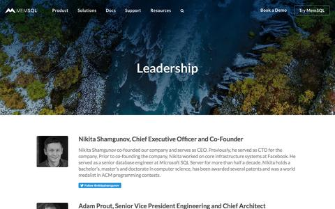 Screenshot of Team Page memsql.com - Leadership at MemSQL - Management Team - captured June 18, 2018