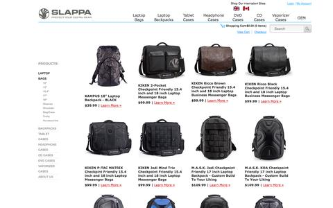 Screenshot of Products Page slappa.com - Laptop Backpacks, Backpacks, Messenger Bags, laptop bags and Laptop Cases by SLAPPA - captured Dec. 9, 2015