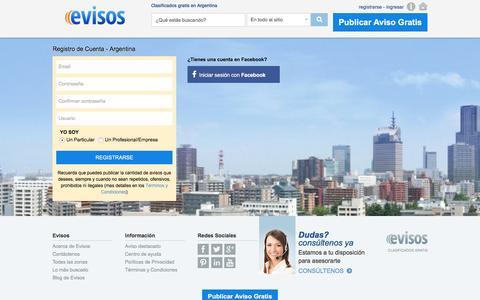 Screenshot of Signup Page evisos.com.ar - Evisos Argentina - Registro de Usuario - captured July 19, 2016