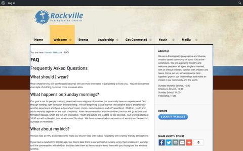 Screenshot of FAQ Page rockvillepres.org - FAQ | Rockville Presbyterian Church - captured Oct. 26, 2017