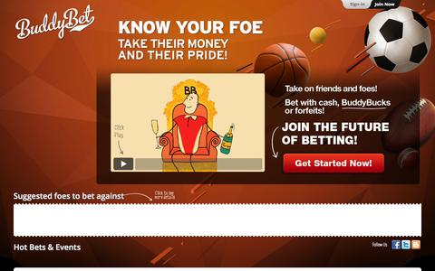 Screenshot of Home Page buddybet.com - BuddyBet | Betting friends | Social betting - captured Sept. 13, 2014