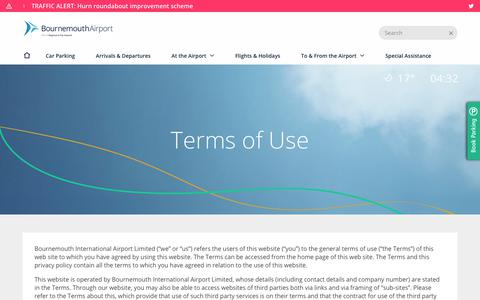 Screenshot of Terms Page bournemouthairport.com - Terms of Use - Bournemouth Airport - captured Aug. 3, 2018