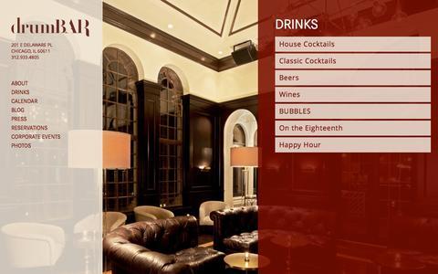 Screenshot of Menu Page drumbar.com - Drinks | Drumbar Chicago - captured Sept. 26, 2015