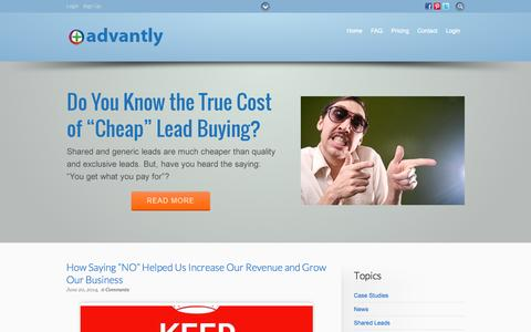 Screenshot of Blog advantly.com - Advantly Guides - Guides to Give Your Ads the Advantage - captured Sept. 19, 2014