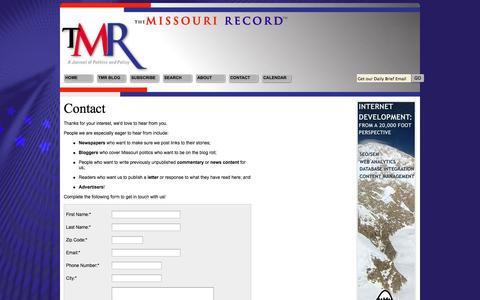 Screenshot of Contact Page missourirecord.com - Contact Us - captured Oct. 8, 2014