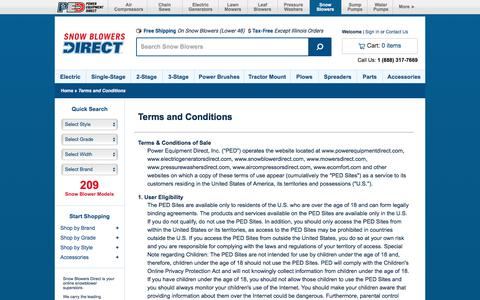 Screenshot of Terms Page snowblowersdirect.com - Terms of Use @ Snow Blowers Direct.com - Your Online Snow Blower Superstore - captured June 23, 2017